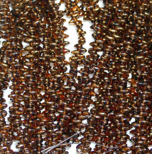 SuperDuo Beads Perlen Twin 2,5x5 mm ( 25 ) Dark Topaz Semi Bronze Luster 50 Stück, 1 Strang