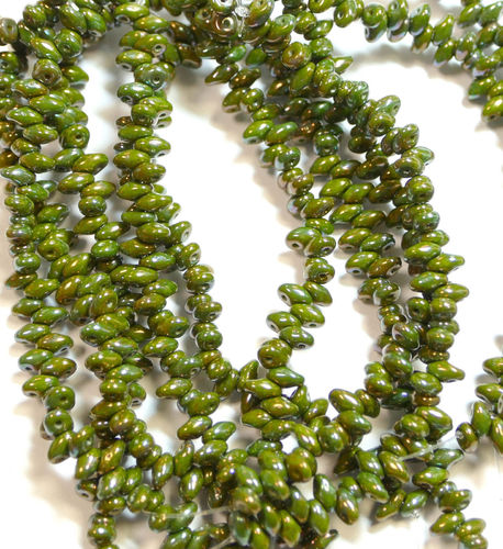 SuperDuo Beads Perlen Twin 2,5x5 mm ( 57 ) Opaque Green Nebula 50 Stück, 1 Strang
