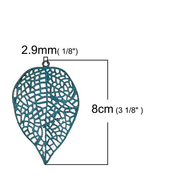 Anhänger Charm Blatt Blätter 80x51x4,7mm messing patiniert 1x