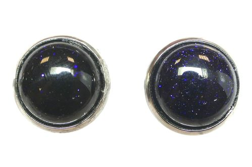 Gemstone Stud Cabochon Earrings 12mm blue sand stone, 1 pair