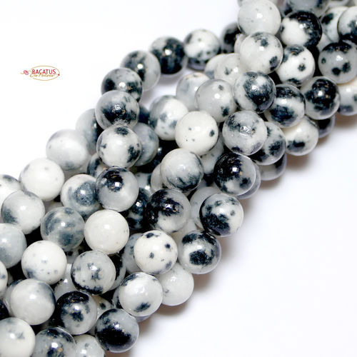 Grey & White Jade Rounds 6 - 8mm, 1 Strand