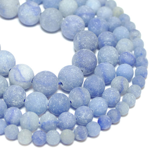 Blue Aventurine Frosted Rounds 4 - 12 mm, 1 Strand