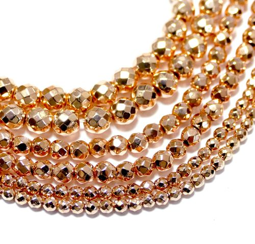 Hematite facetted Rounds light champagne 2 - 6 mm, 1 Strand