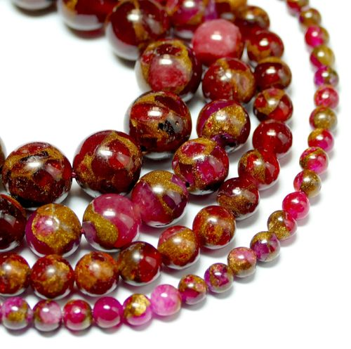 Dyed Jade & Goldstone Plain Rounds Red 4 - 10 mm, 1 Strand