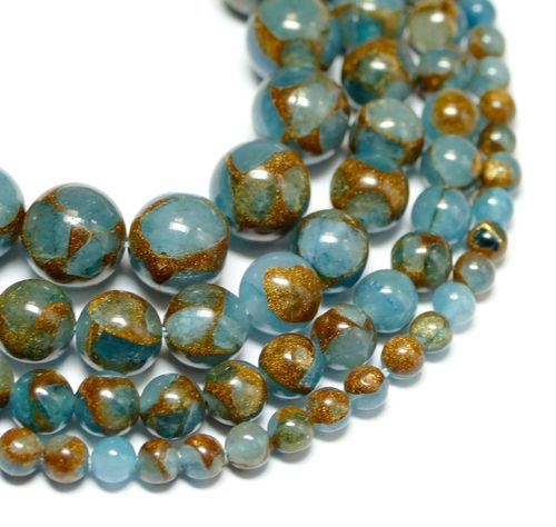 Dyed Jade & Goldstone Plain Rounds light Blue 4 - 10 mm, 1 Strand