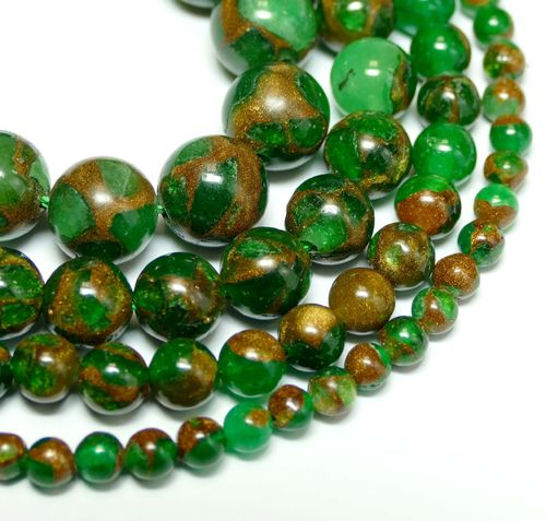 Dyed Jade & Goldstone Plain Rounds Green 4 - 10 mm, 1 Strand