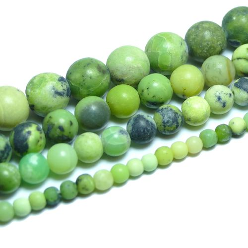 Chrysoprase matte Rounds 4 - 12 mm, 1 Strand