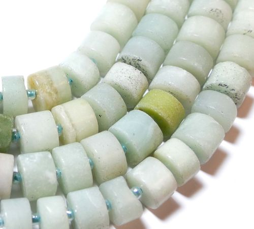 Amazonit Beads Roll 6x10 mm with Great Light Blue Tones, 1 Strang
