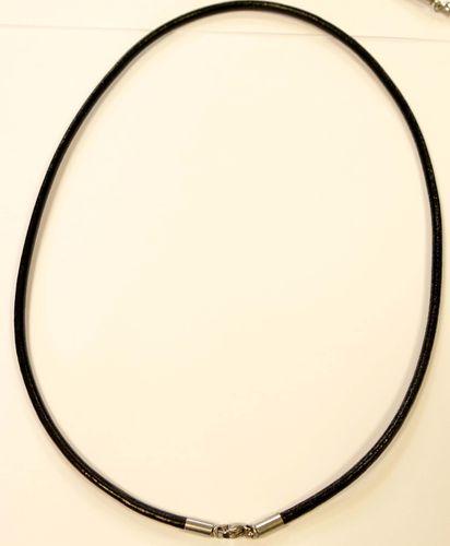 Collier aus Organzaband und Wachsschnur mit Verlängerungskettchen weiß 1x