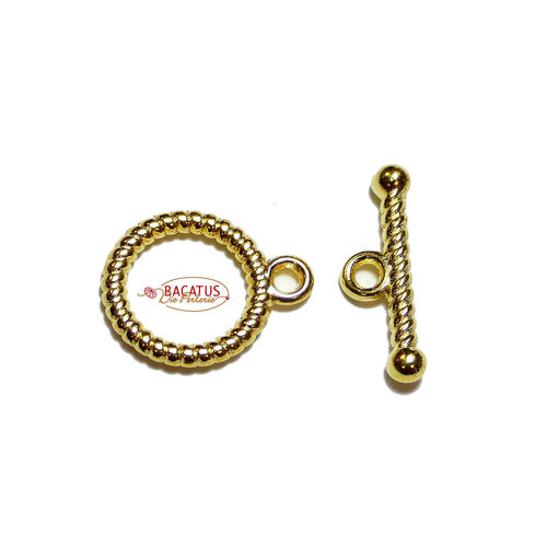 T-Buckle Toggle Closure Metal gold, 13mm 2x or 10x
