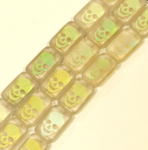 Skull Glass Pearl Number 4 transparent, 1 Strand (6x)