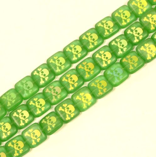 Skull Glass Pearl Number 21 Green, 1 Strand (6x)