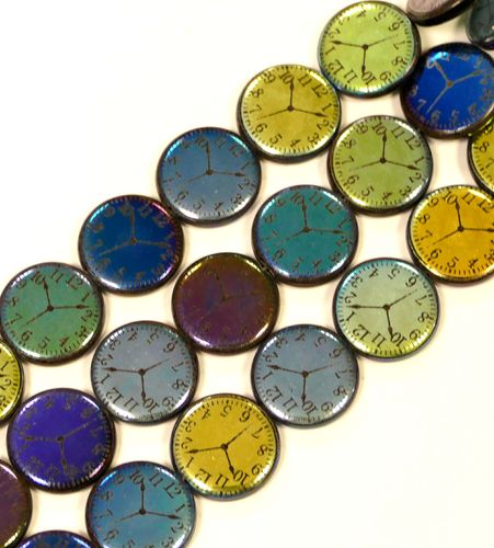 Glass Pearls different Colors Motiv Clock, 1 Strand