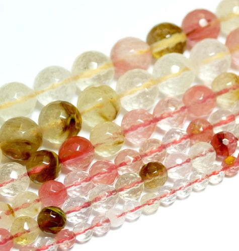 Cherry Quarz Faceted Mix Pearls 4 - 14 mm, 1 Strand