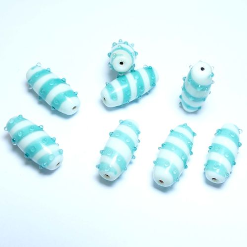Lampwork beads white turquoise 13 x 30 mm Bacatus 8 x P121