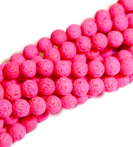 Dyed Rose Pink Color Lava Rock Plain Rounds 8 mm, 1 Strand