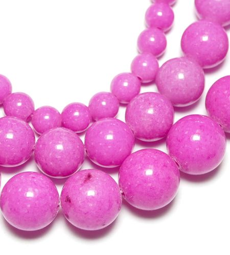 Dyed Light pink Mashan Jade Plain Rounds 4 - 12 mm, 1 Strand