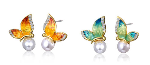 Stud earrings, butterfly 20x15mm enamel with pearl and rhinestones different colors 1 pair