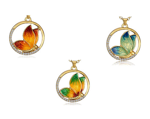 Necklace, butterfly in ring 46cm enamel various colors 1 piece