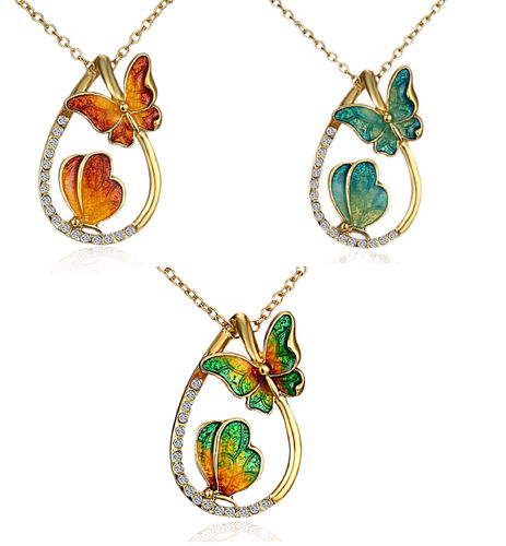 Necklace, two butterfly lines in golden drops 46.5 cm different colors 1 piece