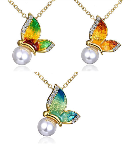 Necklace, butterfly with pearl 44-47cm different colors 1 piece