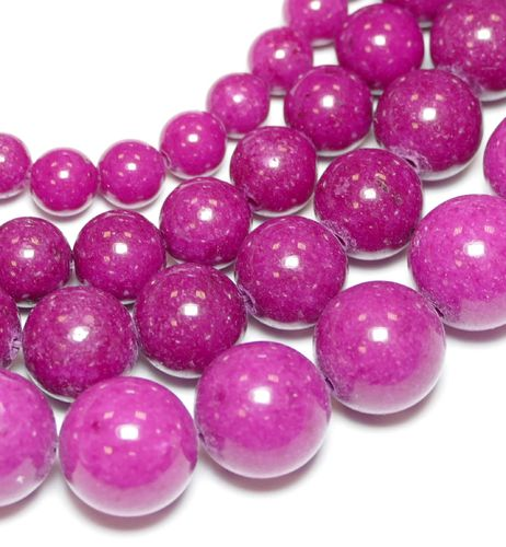 Dyed Fuchsia Mashan Jade Plain Rounds 4 - 12 mm, 1 Strand