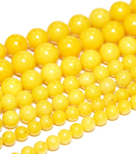 Dyed Yellow Mashan Jade Plain Rounds 4 - 12 mm, 1 Strand