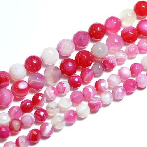 Pink Strip Agate facetted Rounds 6 - 8 mm, 1 Strand