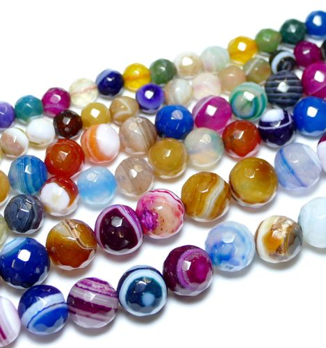 Multicolor Strip Agate 128 Facetted Rounds 6 - 12 mm, 1 Strand