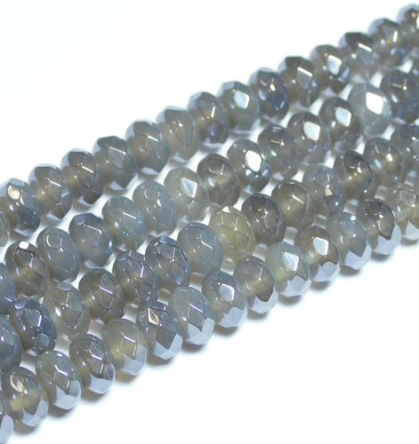 Highlight Coated grey Agate facetted Rondelles 5x8mm, 1 Strand