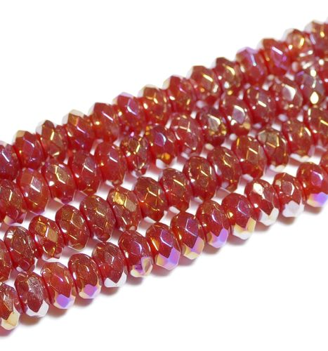 Rainbow Color Coated Red Agate facetted Rondelles 5x8 mm, 1 Strand