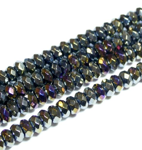 Rainbow Color Coated Black Agate facetted Rondelles 5x8 mm, 1 Strand