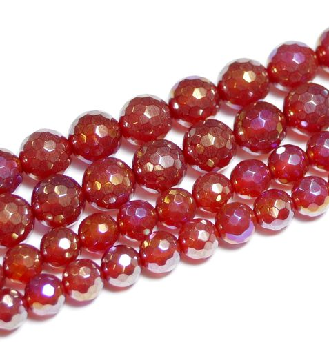 Agate Red AB Color Faceted 6 - 8 mm, 1 Strand