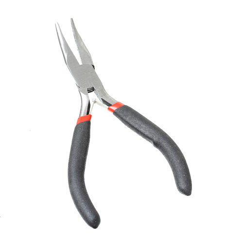 Flat-nose pliers bent, plastic handle, alloy + stainless steel 12.5 cm 1x