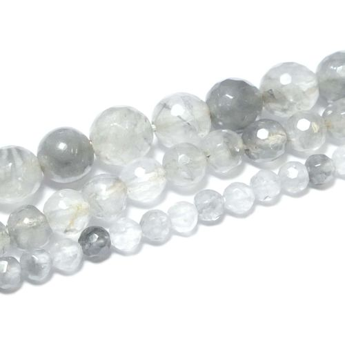 Cloud Quartz Plain Rounds faceted 4 - 8 mm, 1 Strand