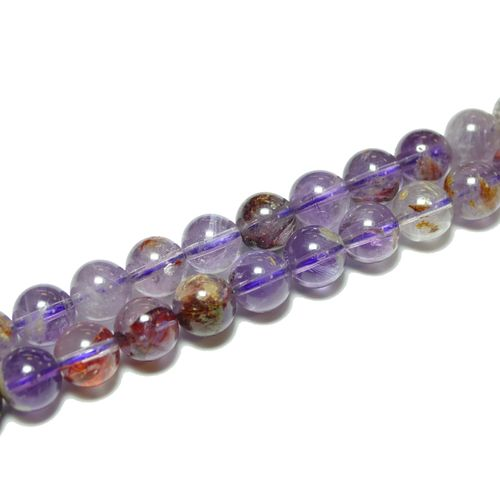 Phantomquarz purple plain rounds 8 mm, 1 Strand