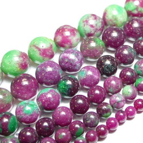 Jade ruby zoisite Color plain rounds, 1 Strand