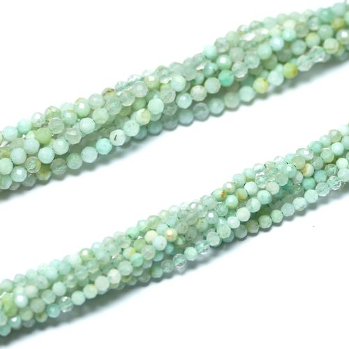 Opal faceted green 2 mm, 1 Strand