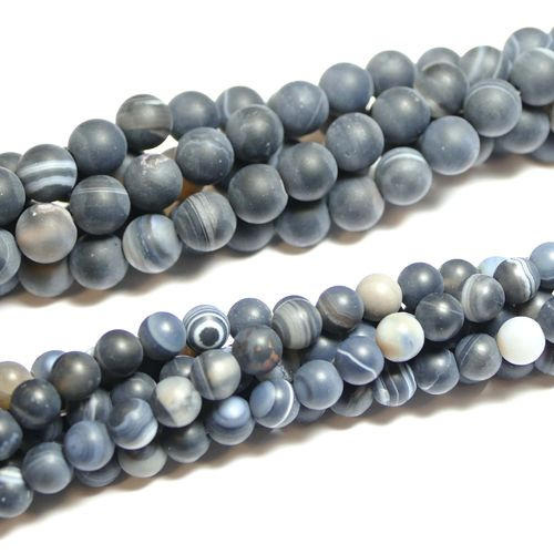 Sardonyx matte plain rounds 6 - 8 mm, 1 Strand