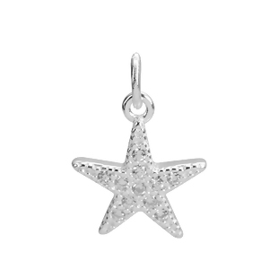 Pendant, charm starfish with Strass 10x14mm silver 1x