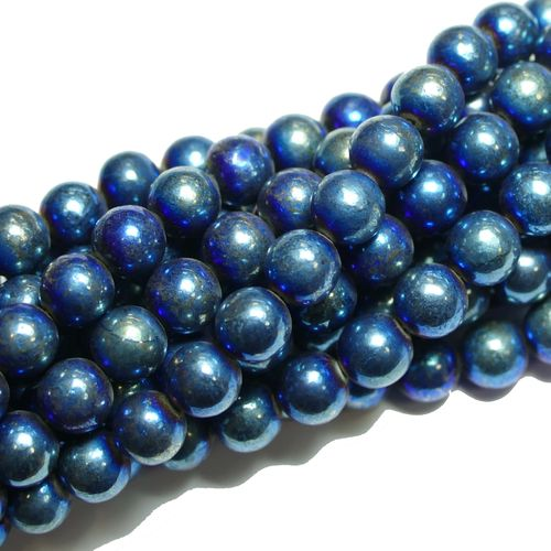 Pyrite plain rounds blue 8 mm, 1 Strand