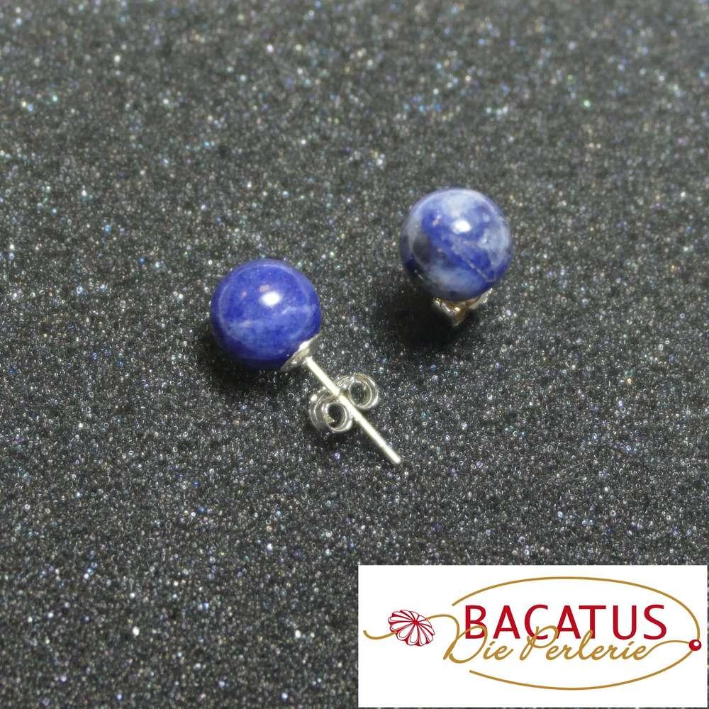 8mm Lapis Studs 8 mm Lapis Lazuli Earrings Blue Cabochon Stud Earring