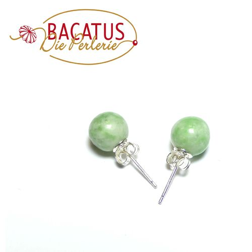 Jadeite earring stud 8 mm, 1 Pair