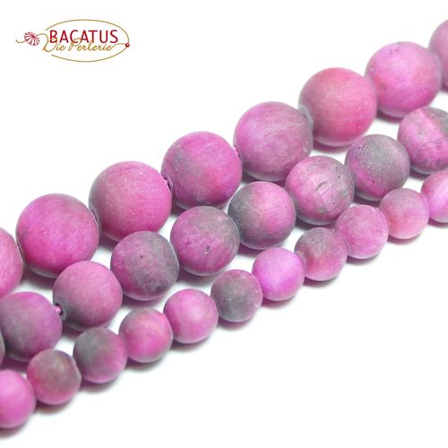 Tiger eye plain rounds matte pink 6 - 10 mm, 1 Strand