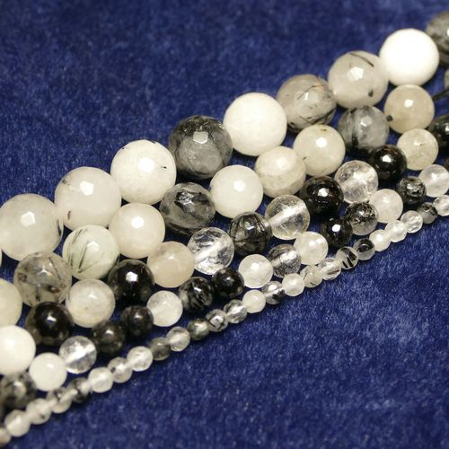 Tourmaline Quartz plain rounds facetted 4 - 12 mm, 1 Strand