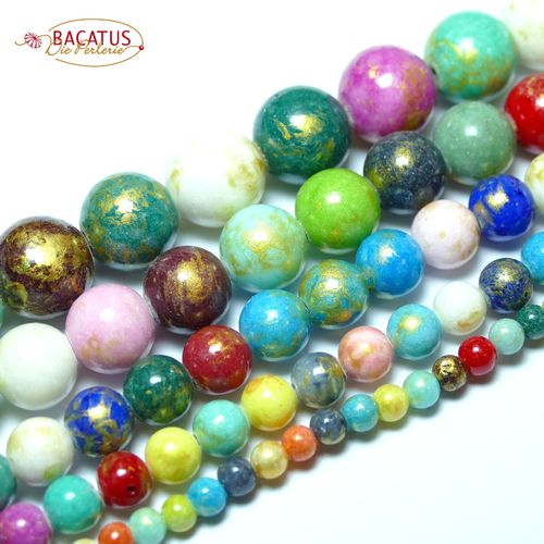 Jade plain rounds multi color 4 - 12 mm, 1 Strand