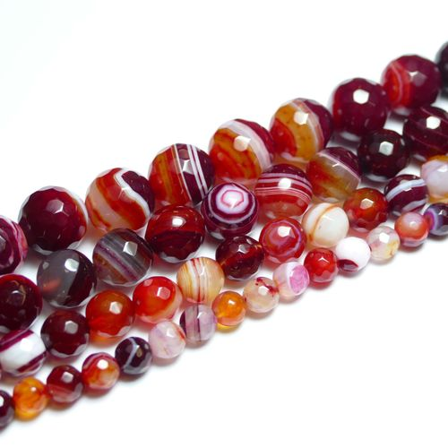 Agate Stripe Red 128 faceted 6 - 12 mm, 1 Strand