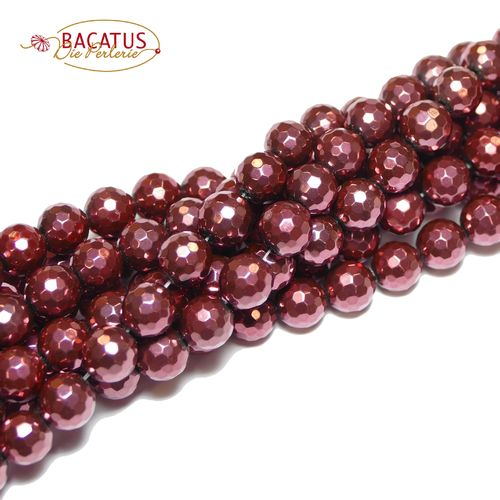 Agate *NEW* red 128 faceted 8 mm, 1 Strand