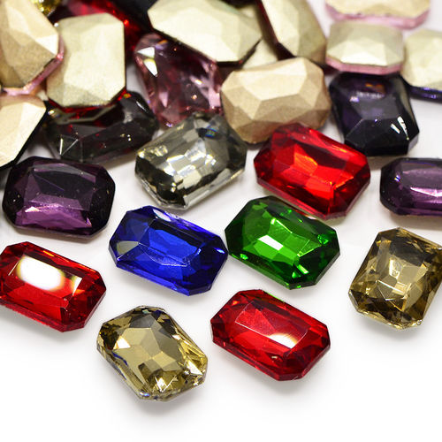 Crystal bead cabochon rectangular domed faceted foiled embroidery 27x18x4mm 1x