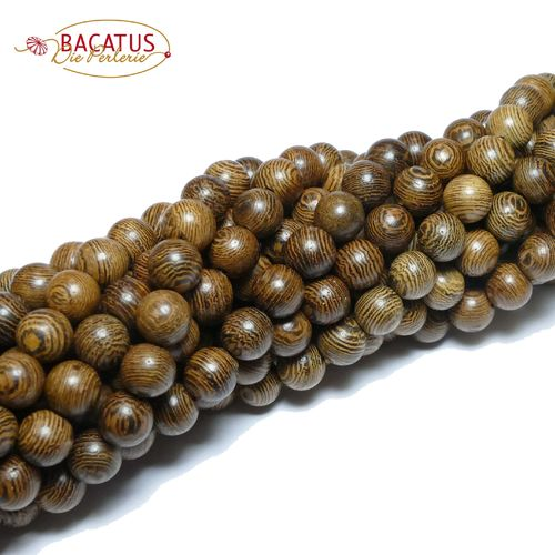 Wood plain rounds brown 8 mm, 1 Strang
